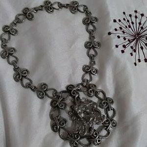 Vintage Pixie Cameo Necklace Large Pendant Choker